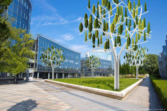 Rendering of the wind tree, which is designed to integrate with an urban environment. (Courtesy New Wind)