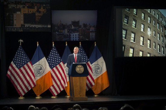 Mayor de Blasio delivering his second State of the City address. (NYC MAYOR'S OFFICE)