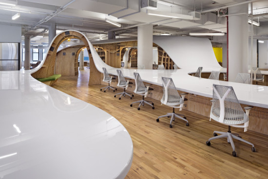 Clive Wilkinson Architects designed a continuous work surface dubbed the Superdesk for New York advertisers the Barbarian Group. (Michael Moran)