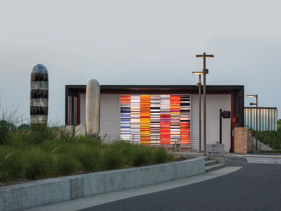 A multicolored mural by Jun Kaneko brings the pump house to life. (Paul Crosby)