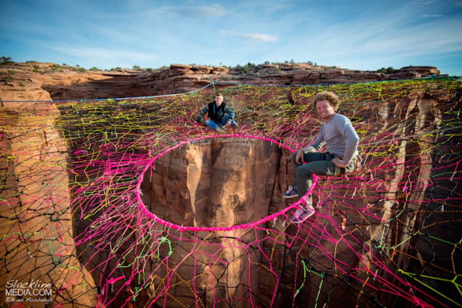 courtesy slackline media  this 400 foot high hammock in the moab desert is a mid air      rh   archpaper