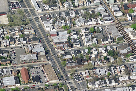 A portion of East New York to be rezoned. (Courtesy Bing)