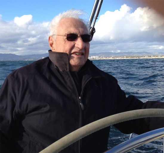 Frank Gehry pilots his boat, FOGGY. (Paul Goldberger)