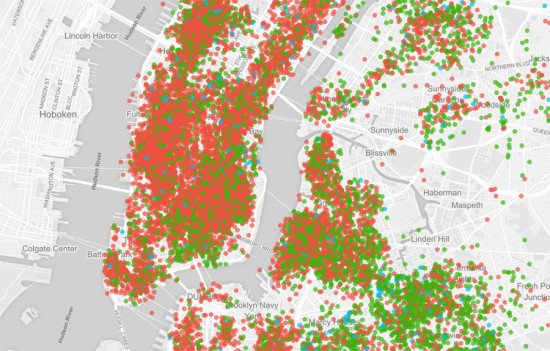 Airbnb listings in New York City. (Courtesy Inside Airbnb)
