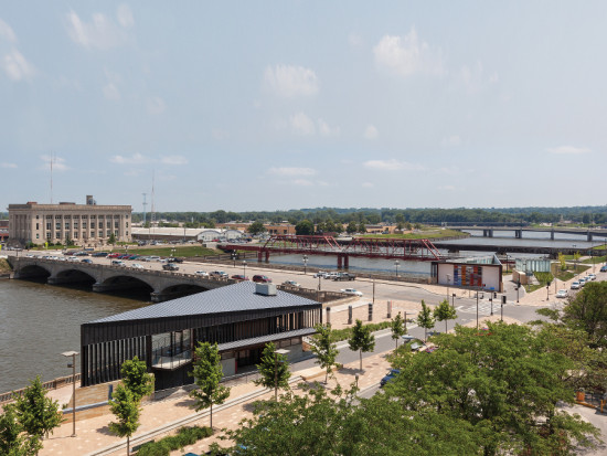 Substance Architecture's pavilion and pump stations are part of Des Moines' Principal Riverwalk development. (Paul Crosby)