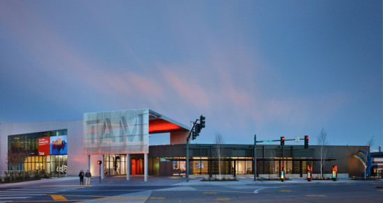 Olson Kundig's extension to the Tacoma Art Museum comprises a new entrance canopy and a Richlite-clad gallery wing. (Benjamin Benschneider)