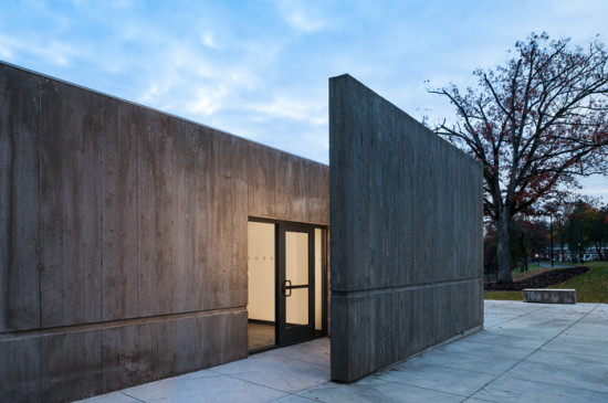 A board-formed concrete addition houses restrooms. (David Lamb)