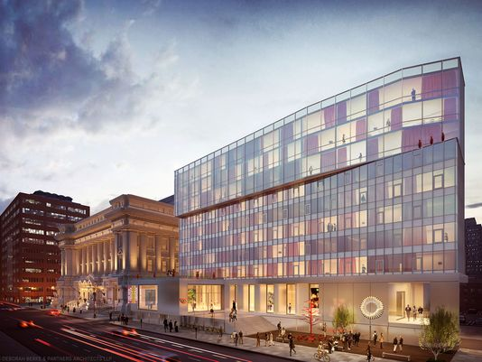 A rendering of the proposed 21c Museum Hotel with the old City Hall (left), which will be come an art museum and housing for arts-related professionals. (Courtesy 21c Museum Hotels)