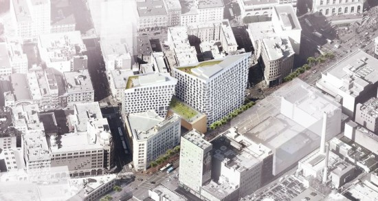 An aerial rendering of the earlier design proposed for 950-974 Market Street. (BIG)