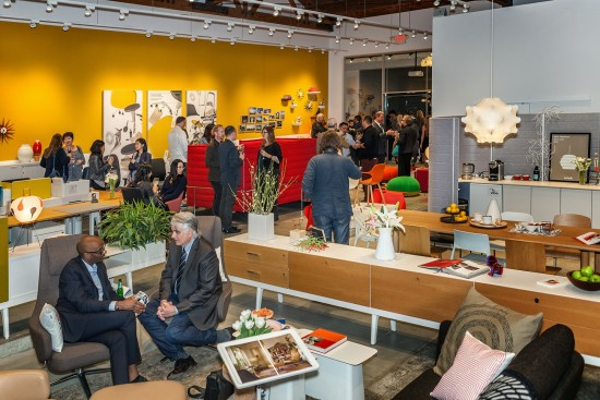 Partygoers celebrate the opening of the expanded Vitra showroom. (Vitra)