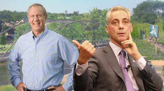 Bruce Rauner, left, and Rahm Emanuel, right. (Courtesy Bruce Rauner; Talk Radio News Service / Flickr; Courtesy 606)