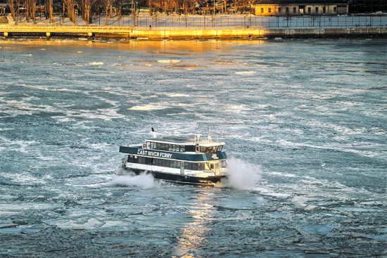 A ferry struggles with ice on the East River. (Several seconds / Flickr)