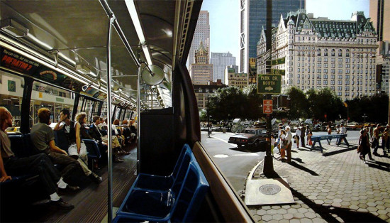 Richard Estes, The Plaza's Plaza from a city bus, 1991.