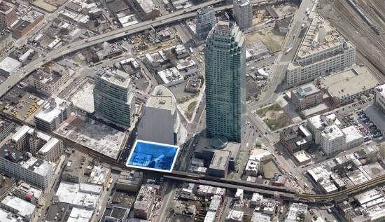 The site is marked in blue. (Courtesy Bing)