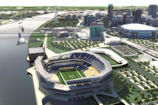 A proposal for a new NFL stadium in downtown St. Louis. (HOK)