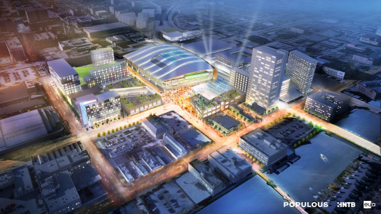 Conceptual renderings of the Milwaukee Bucks new arena, and the surrounding entertainment district, were release April 8. (Populous, HNTB, Eppstein Uhen, Milwaukee Bucks)