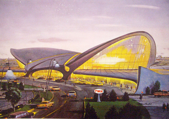 An old TWA drawing of its terminal in the 1960's via Todd Lappin/Flickr.