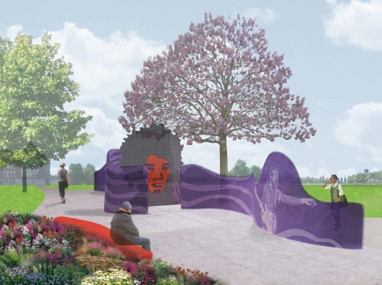 The planned Jimi Hendrix Park Sound Wave Wall (Seattle.gov)