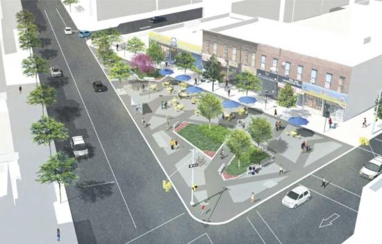 The new Putnam Triangle Plaza. (Courtesy Thomas Balsley Associates & NYC DDC)