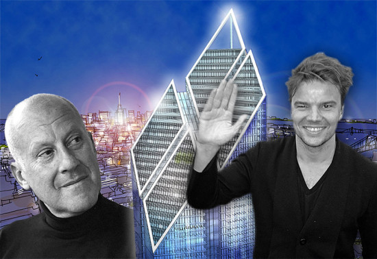 Norman Foster, left. Bjarke Ingels, right. Foster's design for 2 World Trade Center, center. (Montage by AN)