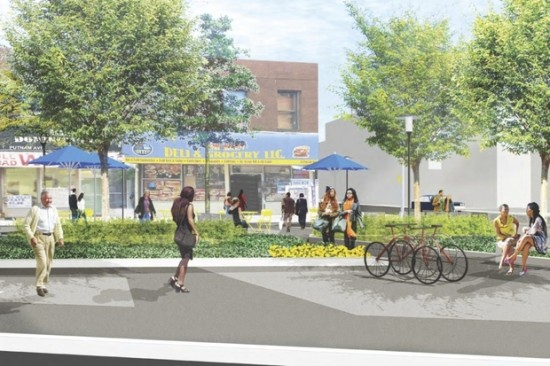 New plantings and bike racks. (Courtesy Thomas Balsley Associates via Fulton Area Businesses)