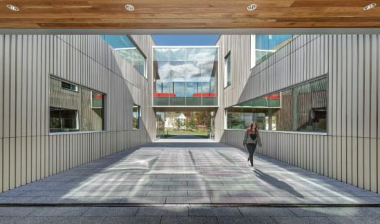 The college's historic landscape and architecture inspired the textured concrete rain screen. (Anton Grassl/Esto)
