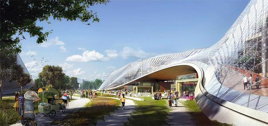 One of Big and Heatherwick's four planned buildings for Google. (BIG)