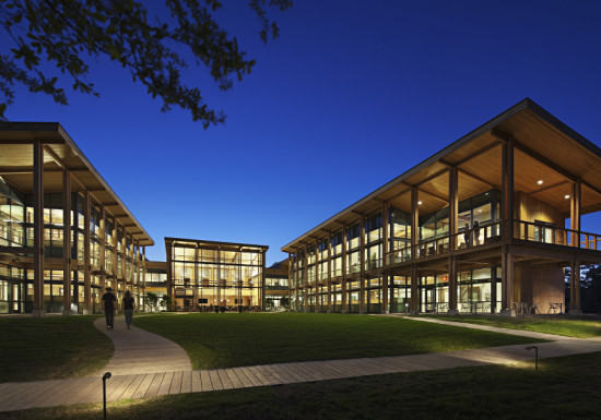 Live Oak Bank's new headquarters features cypress cladding and plentiful glazing. (Mark Herboth Photography)