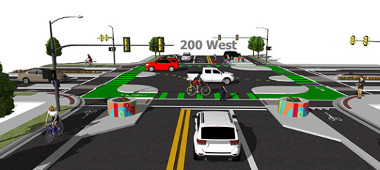 Salt Lake City's planned protected bike intersection. (Courtesy SLC.GOV)