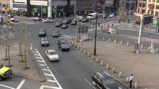 The Manhattan Bridge approach as-is. (Courtesy NYC DOT)