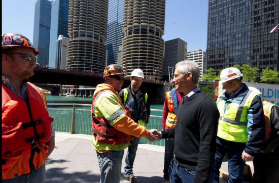 Mayor Rahm Emanuel at the opening of a new segment of the Chicago Riverwalk. (Office of the Mayor, Chicago)