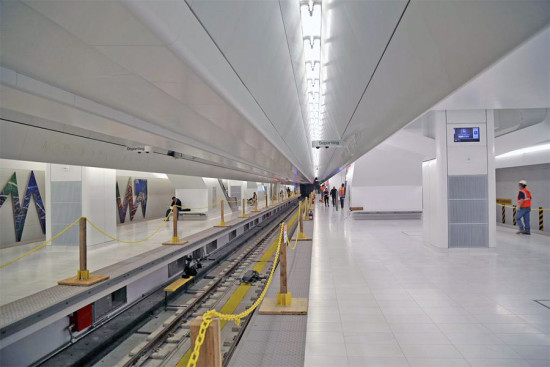 The PATH train's Platform B will open to the public at Santiago Calatrava's World Trade Center Transportation Hub. (Courtesy Port Authority)