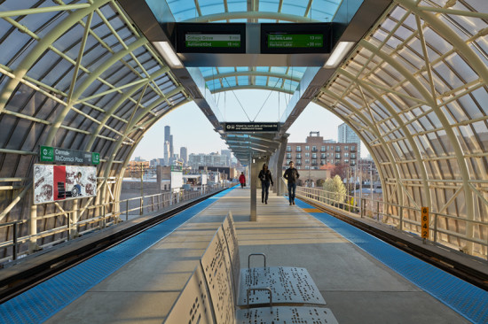 Cermak-McCormick Place: the newest stop on Chicago's CTA Green Line, designed by Ross Barney Architects. (Kate Joyce Studios)