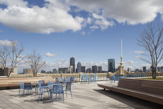A public terrace atop the Ferdinand building offers views of downtown Boston. (Courtesy Mecanoo)
