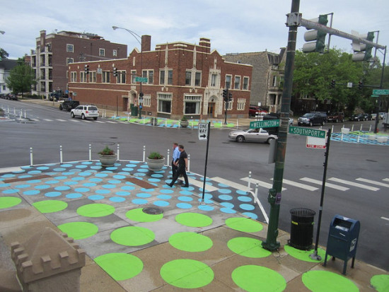 "The view of Chicago's Lincoln/Wellington/Southport intersection as part of the ""Lincoln Hub"" traffic calming  and placemaking project, as seen from St. Alphonsus Church. (John Greenfield)"