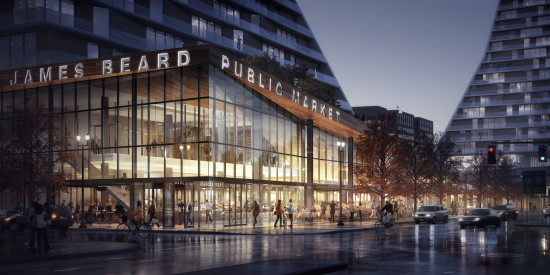 The James Beard Public Market by Snøhetta,  with local partners, Mayer/Reed, SERA Architects, Studio Jeffreys and Interface Engineering, hopes to transform Downtown Portland into a culinary hub. (Courtesy Snøhetta)