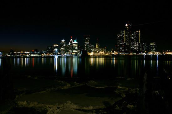 Detroit at night. (Steve Lietzau via Flickr)