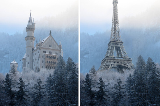The Eiffel Tower planted on the Bavarian Alps in Germany where the Neuschwanstein Castle stands (Courtesy DesignCrowd.com.au)