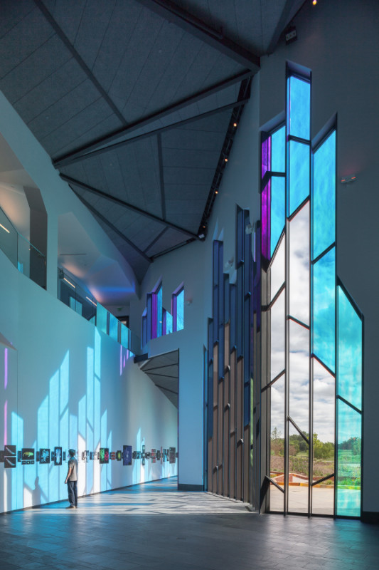 On the interior, the dichronic glass transmits cool blues and purples. (Sam Fentress)