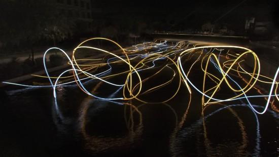 Golden Waters, Grimanesa Amoró's light installation on Soleri Bridge. (Courtesy  Grimanesa Amorós)
