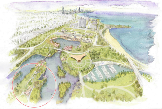 Rendering of the Garden of the Phoenix located in Jackson Park, Chicago with SKY LANDING (circled) and the New Phoenix Pavilion (proposed) and Museum of Science and Industry.