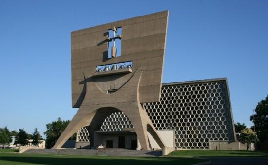 Saint John's Abbey and University Church, Marcel Breuer, 1961, Collegeville, Minnesota. (Courtesy Fr. Geoffrey Fecht, OSB)