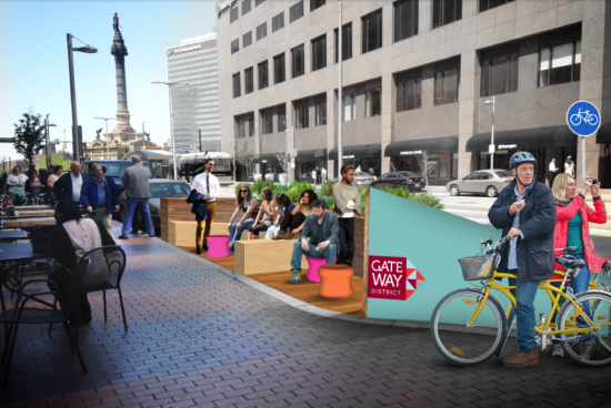 Plans for Cleveland's first parklet. (Historic Gateway Neighborhood Corp.)