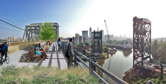 A rendering of the Red Line Greenway proposal. (Original photo courtesy of Share the River, Rendering by Evan Peterson, LSU Robert Reich School of Landscape Architecture, via The Cleveland Plain Dealer)