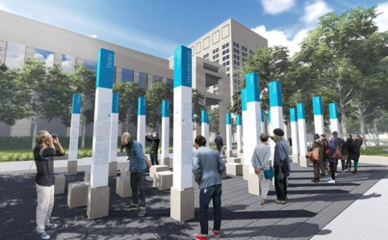 The Plaza plan includes a cluster of columns representing Indiana's 92 counties. (MKSK Studios)
