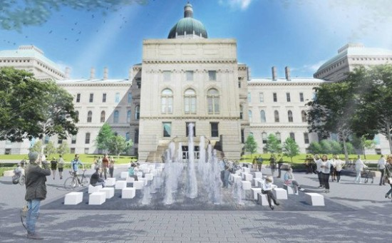 Plans for a new fountain at Indiana's Bicentennial Plaza  in Indianapolis. (MKSK Studios)