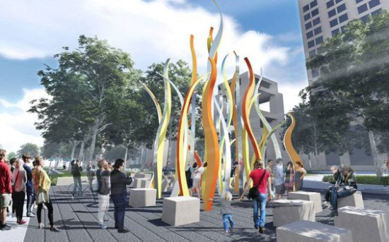 """The Plaza plan includes an """"Enduring Flame"""" sculpture and a terrace with upright columns representing Indiana's 92 counties.  (MKSK Studios)"""