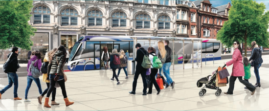 Rendering of proposed Bus Rapid Transit (BRT) system (Courtesy Dublin City Council and the National Transport Authority)