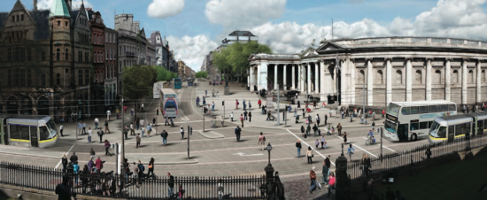 Rendering of proposed College Green civic space with expanded footpaths (Courtesy Dublin City Council and the National Transport Authority)