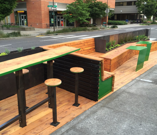 Portland's newest parklet designed and built by PSU architecture students. (Michael Coon)